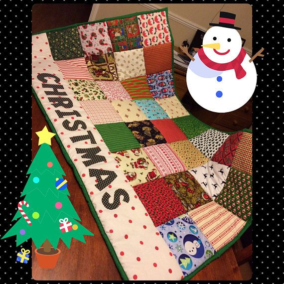 "Christmas themed Quilt, Decorative christmas blanket, (X Large) 50""X 60"" Bespoke made to order gift idea. Xmas gift idea"