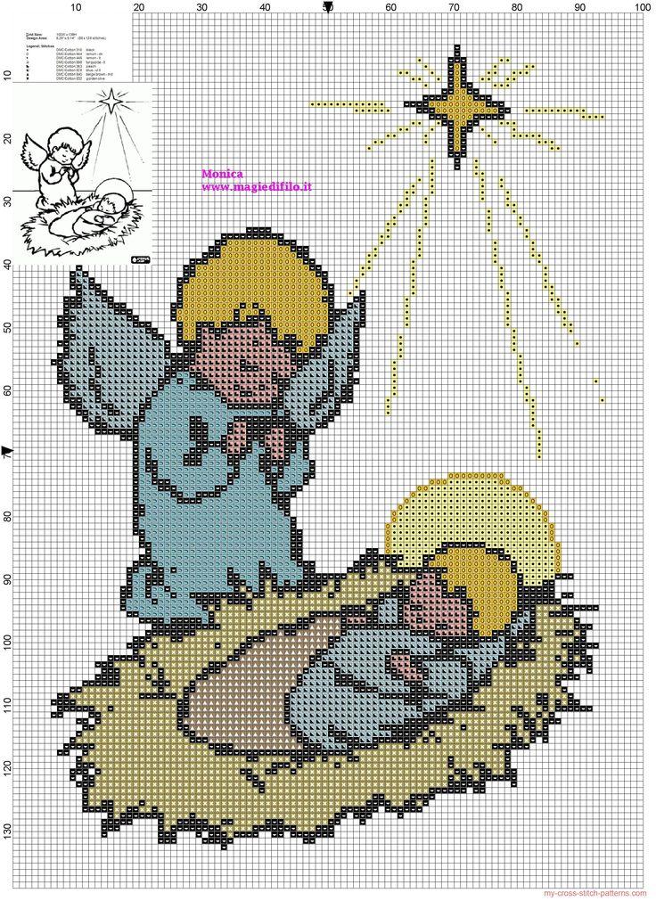 Angel With Baby Jesus Cross Stitch Pattern Bordados