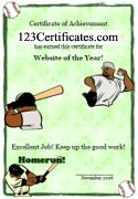 Free Printable Sports Certificates, Sports Awards, Certificate Templates, Player of the Game Awards and free online sports award certificate maker