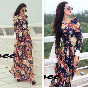 New Promotion Freeshipping Fashion 2014 Summer Long Sleeve Floor-length Flower Print Women Casual Lace Straight Dresses Ds5464 692,37 руб.