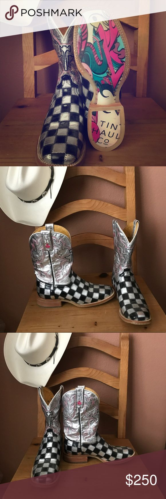 Tin Haul Co. Silver & Black Women's Boots Size 7.5 Brand New, never worn!  Unique black and silver checkered women's square toe cowboy boots by Tin Haul Co. Handmade leather boots with rubber sole.  Size 7.5B Tin Haul Co. Shoes Heeled Boots