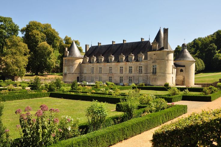 Castle of Bussy Rabutin, burgundy area, France. The castle was founded in the 12th century by Renaudin de Bussy. It was rebuilt in the 14th century, and the Renaissance galleries were added in the 1520s.