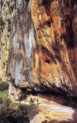 Stained limestone cliffs, the Ardeche