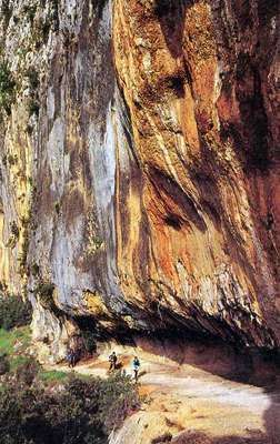 Stained limestone cliffs, the Ardeche