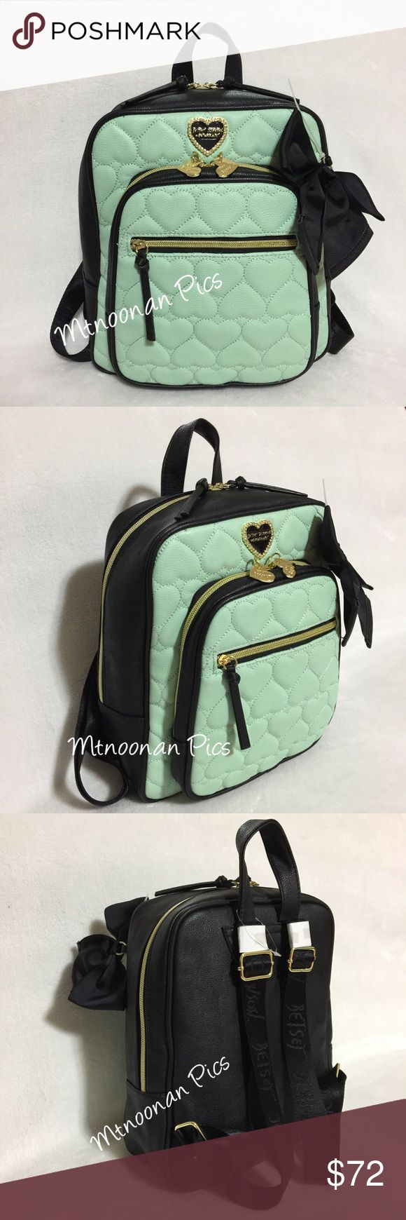 """Authentic Betsey Johnson Mint Backpack Style Purse NEW WITHOUT TAGS Authentic Betsey Johnson Zip Around Be Mine Medium Backpack Style Purse  • Dimensions: 9.5""""W x 11.5""""H x 5""""D with adjustable straps • Interior: 1 zipper pocket and 2 slip pockets with zip around closure • Exterior: Small zip around closure compartment with  front zip pocket • Gold tone hardware • Color: Mint / Black   • Pattern: Quilted Hearts • Faux Leather  * COMES FROM A NON SMOKING PET FREE HOME  🎀 I have more BETSEY…"""