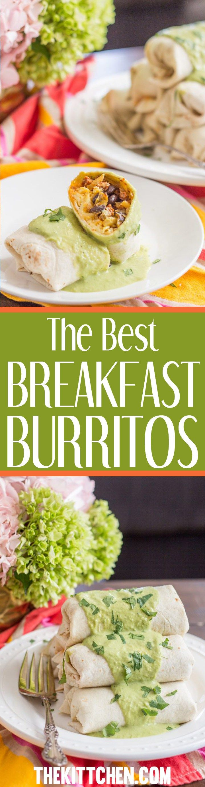 These are the best breakfast burritos that I have ever had, and I love breakfast burritos. I added all of my favorite breakfast foods: crumbled chorizo with sautéed onions, hash browns, black beans, scrambled eggs, and cheese. Then I poured homemade poblano cream sauce on top and added a sprinkle of chopped cilantro. What more could you want on a Saturday morning?