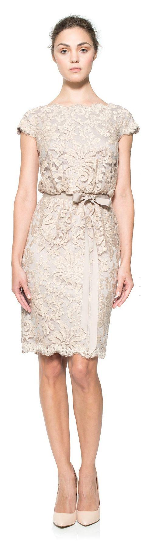 Tadashi Shoji ● Embroidered-Lace Cap Sleeve Blouson Waist Dress