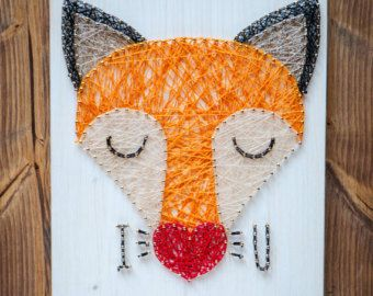 String art wall decor, fox string art made on reclaimed wood planks, perfect decor for kids room or a gift for newborn, wall decoration