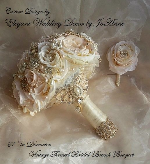 Vintage Inspired Pink and Rose Gold Jeweled Bouquet