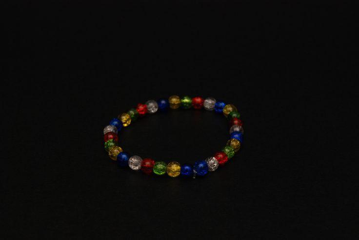 Bracciale elastico perline tipo vetro colorate