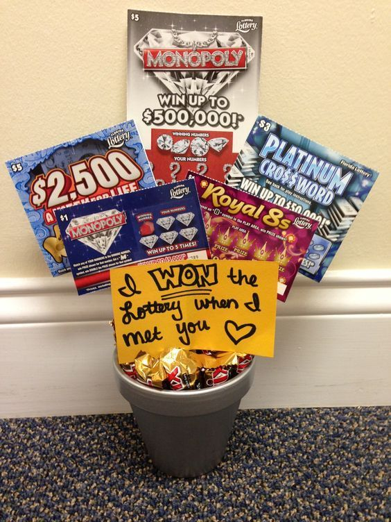 i won the lottery when i met you cute idea for anniversary or valentines day gift for a guy - Valentine Gift Basket Ideas For Him