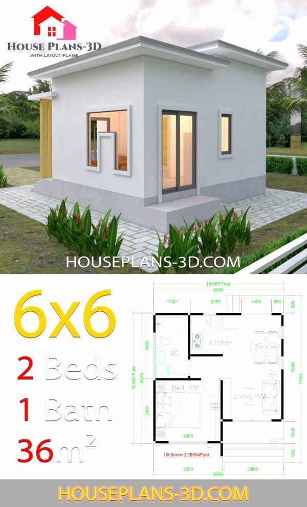Small Flat Roof House Plans Fresh House Plans 6x6 With E Bedrooms Flat Roof In 2020 Flat Roof House House Roof Tiny House Design