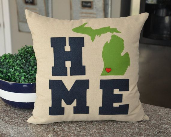 We sell our pillows all over the state of Michigan in a variety shops, furniture stores, as well as craft/art shows. I will custom make any of the 50 states, countries, continents, names, letters, or zip codes.
