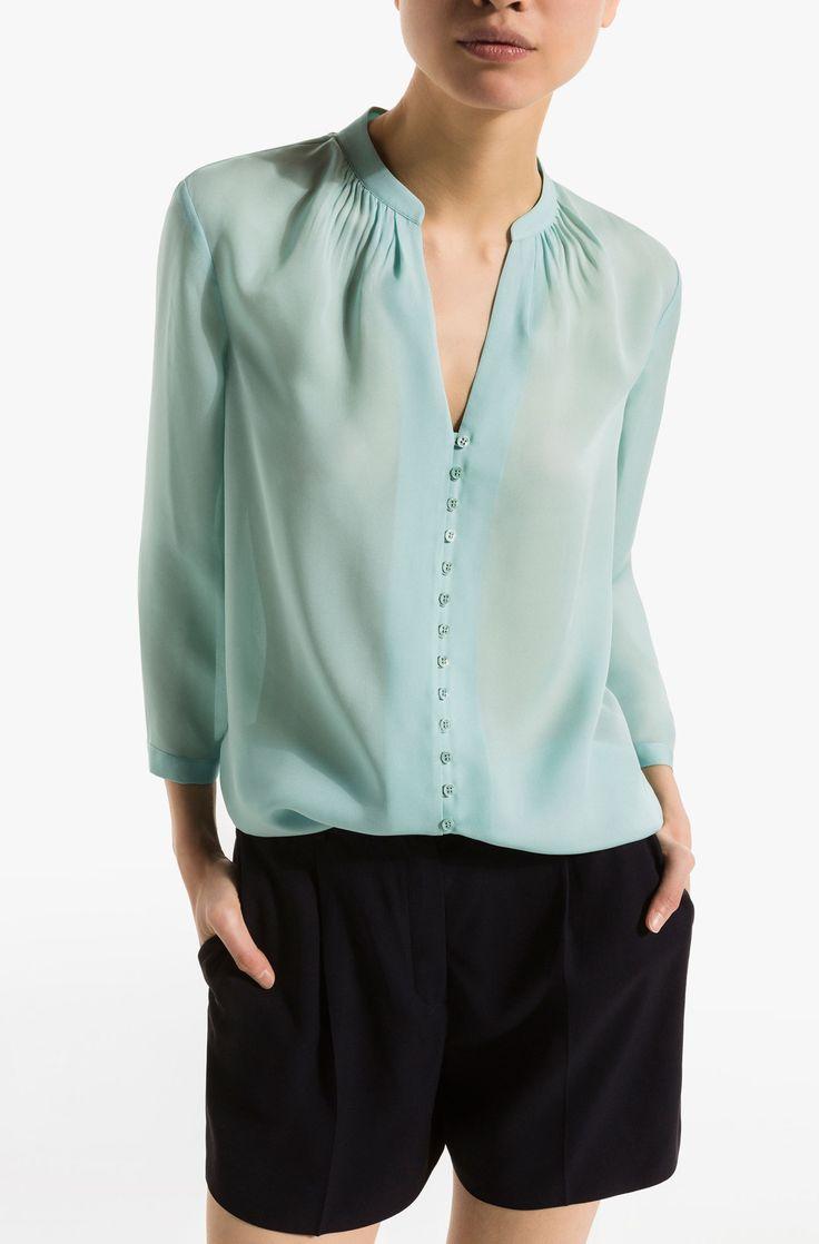 SHIRT WITH BUTTONS - View all - Shirts & Blouses - WOMEN - United States of America / Estados Unidos de América 100% MULBERRY SILK