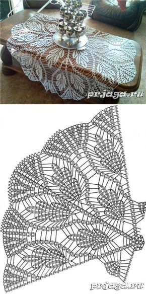 Large crochet doily. Leaf detail.