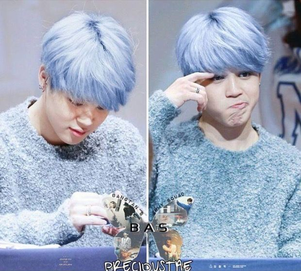 Jimin In Baby Blue Hair Yes Bts Pinterest