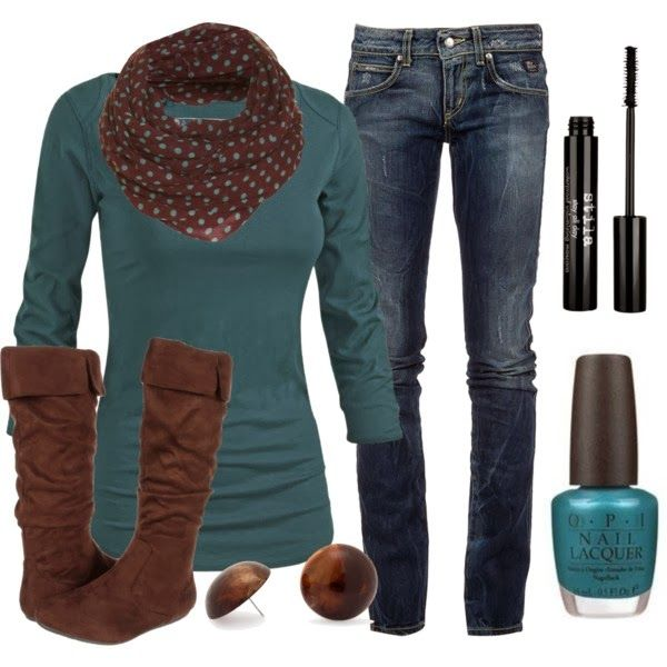 Chic OutfitColors Combos, Polka Dots, Fashion, Style, Blue, Clothing, Fall Winte, Chocolates Brown, Fall Outfit