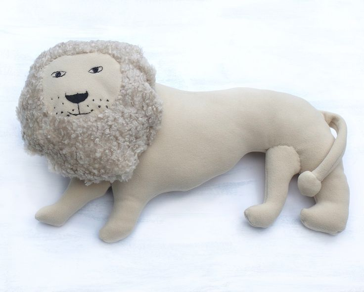White Lion Pillow Kids Room Decor Country House Summer Whimsical Beige Ivory Animal Sweet Soft Toy Funny Plush For animal lovers For kids - pinned by pin4etsy.com