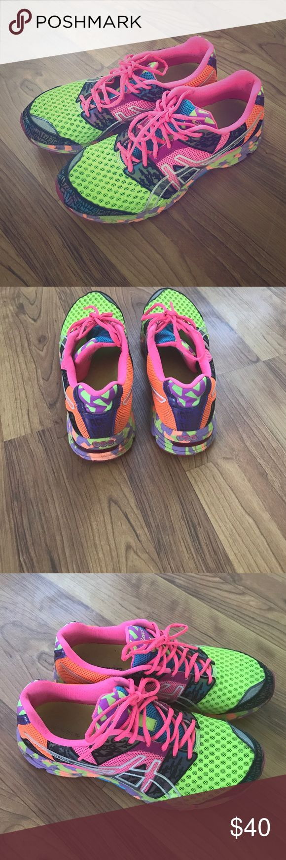Asics Gel Noosa Tri 8 Dynamic Duomax running shoe Bright and fun. Only worn to run errands. I have a wider foot and these are regular fit so too narrow for me. EUC no rips or tears. Soles look great . Asics Shoes Athletic Shoes