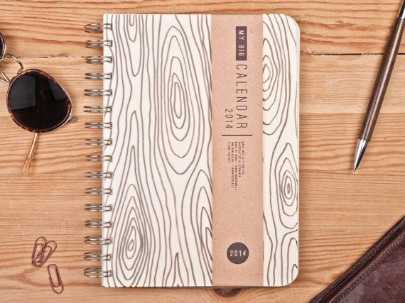 2014 Weekly Planner Calendar Diary Day Spiral A5 Wood Light This Day Planner - Great Christmas Gift Idea