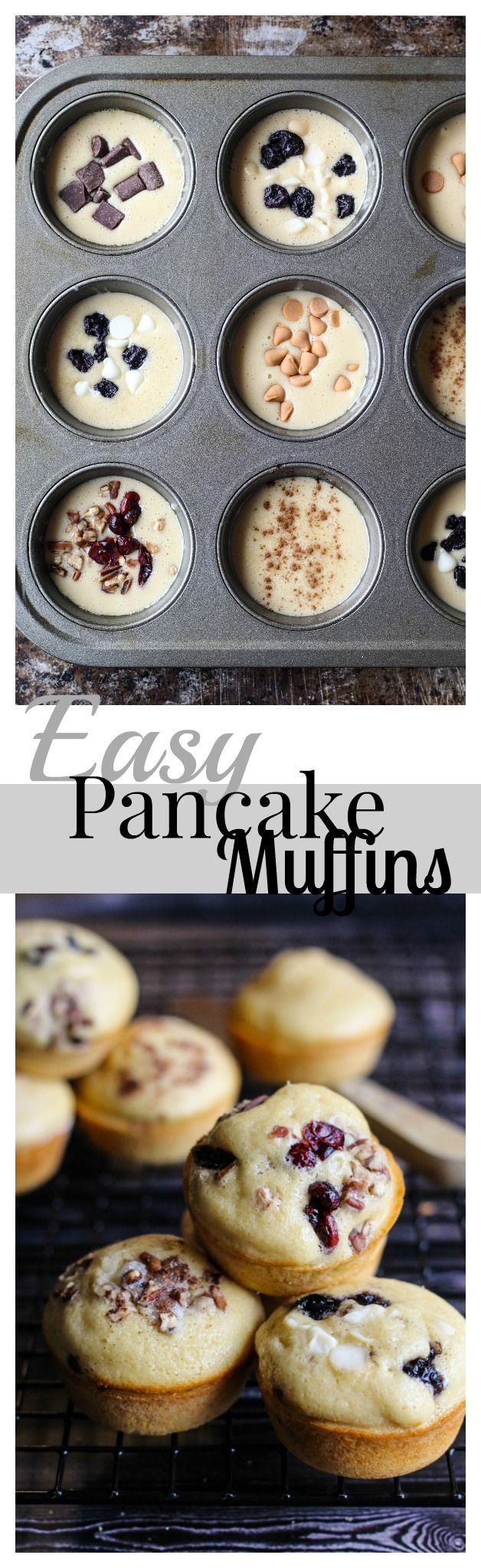 An easy breakfast with customizable pancake muffins-- add whichever toppings you like!