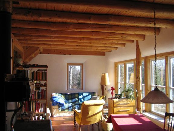 passive solar living space in a strawbale home