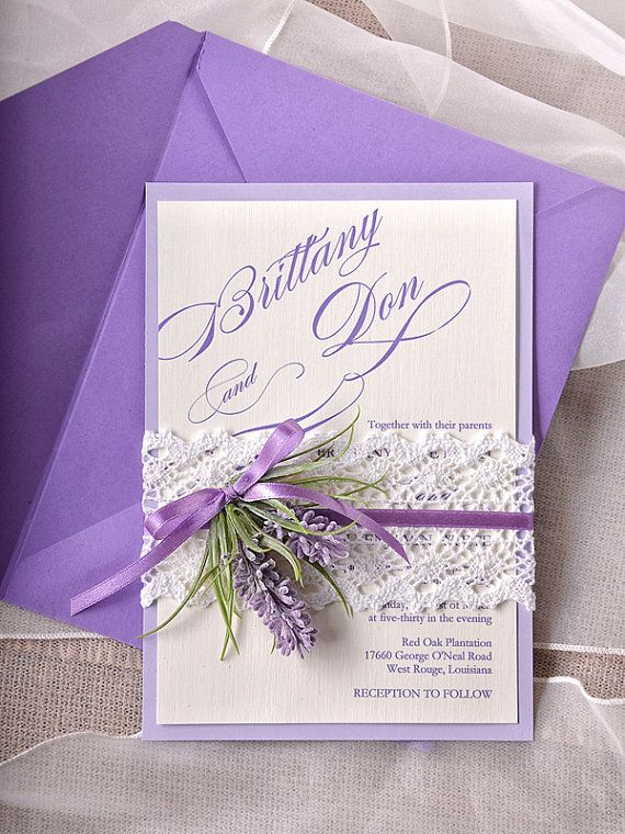Lavender Wedding Invitations, Lace Bally Band Wedding Invitations, Vintage Wedding invitation