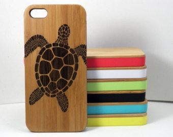Sea Turtle iPhone 5C Case. Tribal Tattoo Ocean Animal Beachy Turtles. Sea Creatures. Eco-Friendly Bamboo Wood Cover. FREE SHIPPING