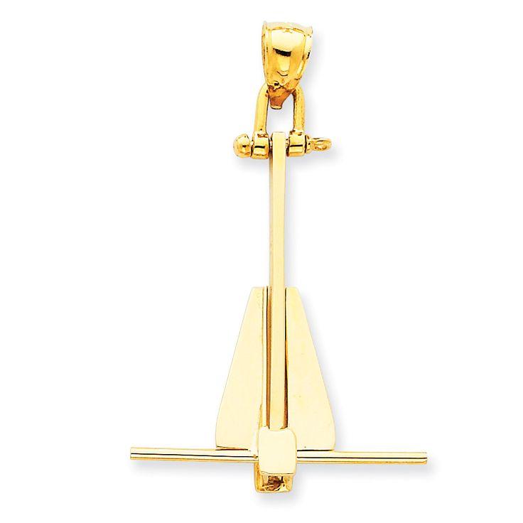 14k Moveable Danforth Anchor Pendant