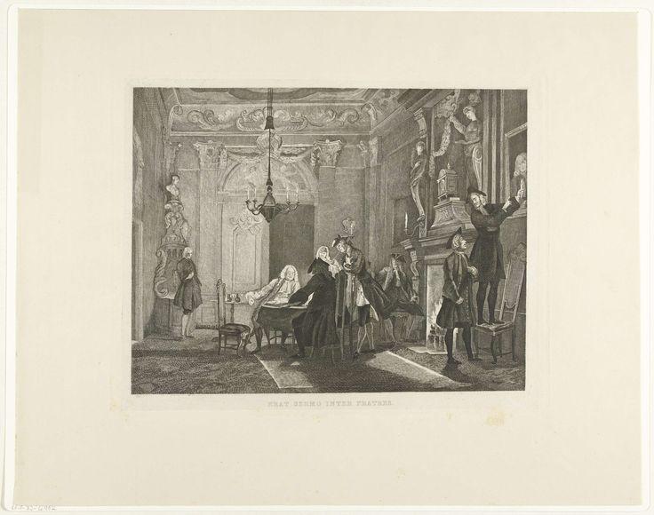 Tieleman Cato Bruining | Men raakte in gesprek, Tieleman Cato Bruining, Cornelis Troost, J.G. La Lau, 1850 | Een groep heren is bijeen in een rooksalon. Twee mannen spelen een bordspel en twee anderen kijken toe. De klok boven de open haard staat op 8 uur. Rechts op de voorgrond staat een man op een stoel om een ander een detail op een schilderij aan te wijzen. Deel een van de serie 'Nelri' naar pastels van Cornelis Troost.
