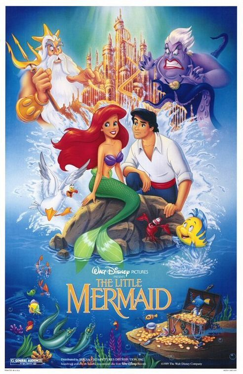 The Little Mermaid (1989) Winner of two Oscars for Best Score and Best Song. Tells the story of an impetuous mermaid princess named Ariel who falls in love with the very human Prince Eric and puts everything on the line for the chance to be with him. Memorable songs and characters -- including the villainous sea witch Ursula.  Jodi Benson, Samuel E. Wright, Rene Auberjonois...25