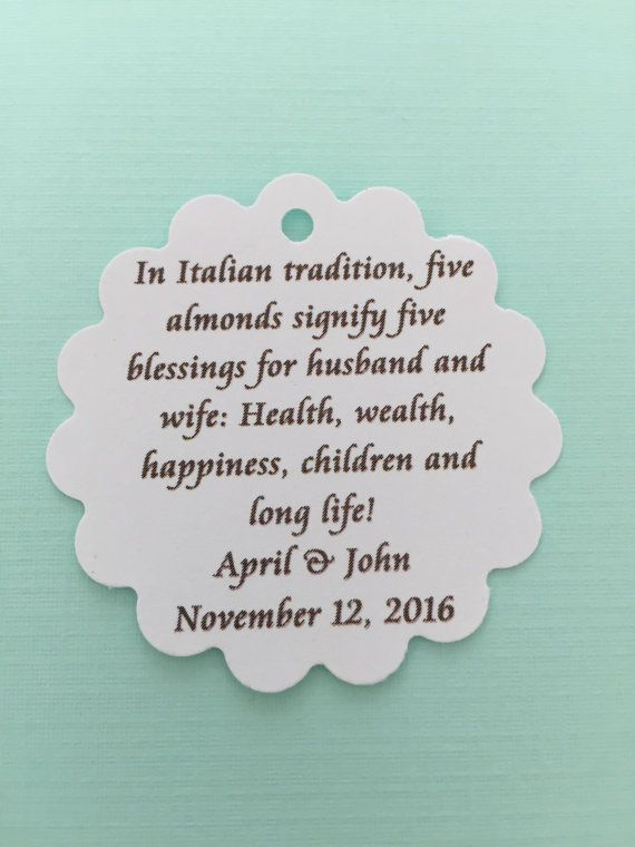 Brianne - 100 pc. italian Jordan almond poem tag for wedding favors