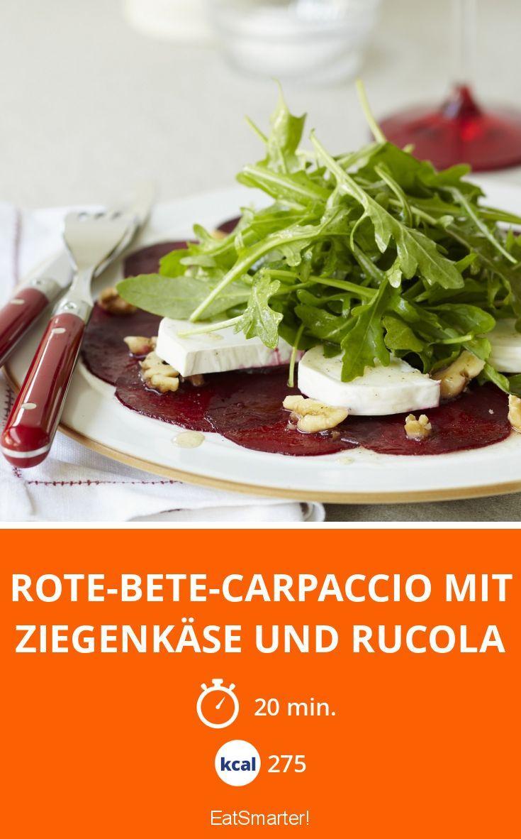 Rote-Bete-Carpaccio mit Ziegenkäse und Rucola