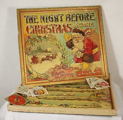 Antique Rare Parker Brothers Board Game The Night Before Christmas c1896
