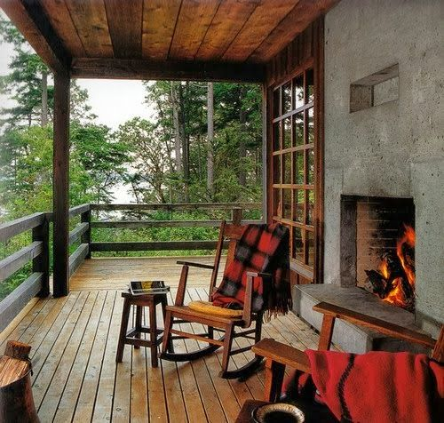 ~fall porch with an outdoor fireplace~