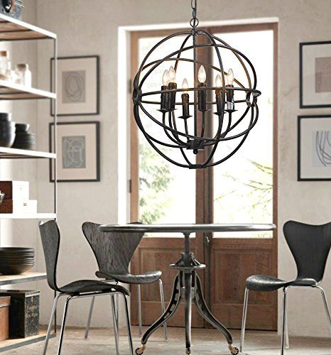 Iron Cage Shape Pendent Hanging Lamp Lighting Fixture Pendant With 6 Candle Lights American Modern Style For Living Room Dining Bar Coffee House