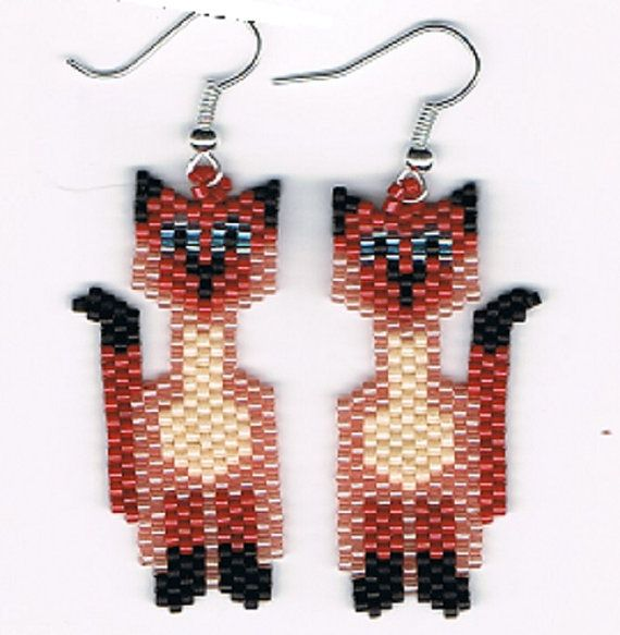Hand Beaded reddish Siamese Cat earrings by beadfairy1 on Etsy