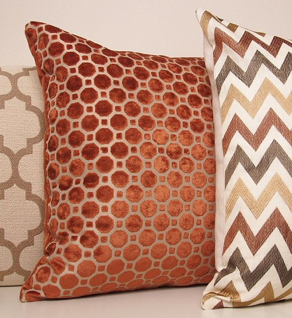 Copper Pillow Orange Pillow Velvet Geometric by septemberHOME