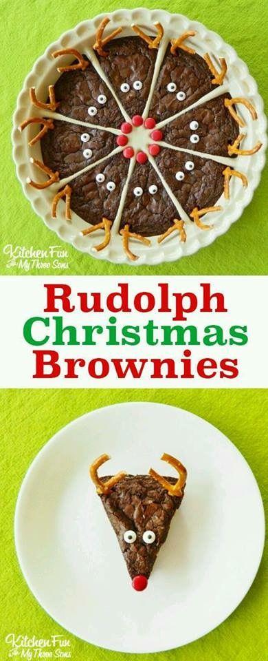 Brownie en forma de reno, el postre ideal para navidad.