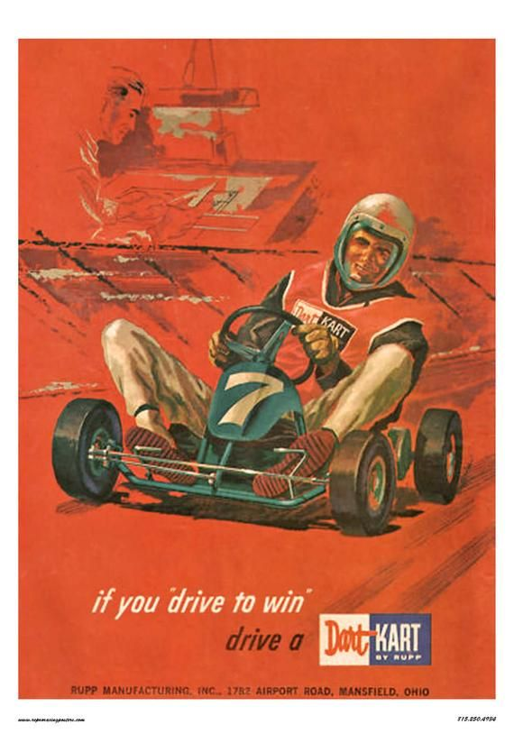 Vintage Reproduction Racing Poster Dart Kart Go Kart In 2020 Racing Posters Go Kart Vintage Go Karts