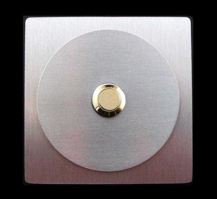TÜRKLINGEL. Klingelplatte- EDELSTAHL - Goldener Knopf - Design - Quadrat&Rund