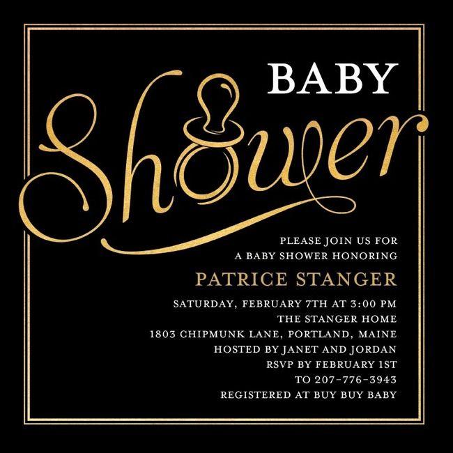 Classic Black Baby Shower Invitations