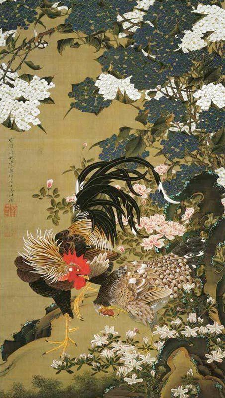 伊藤若冲 紫陽花双鶏図 1759年