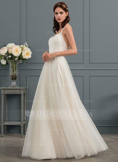 A Line Princess Sweetheart Floor Length Tulle Wedding Dress
