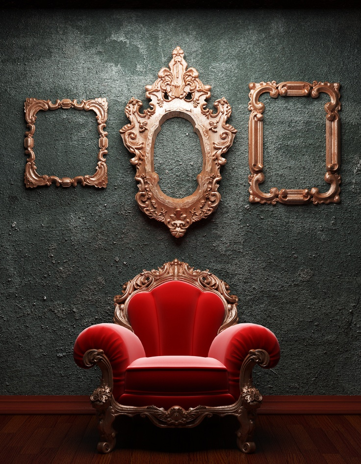 "vintage gilt frames and chair - Why do I find this so funny? ""Mirror, mirror, on the wall, what's with the ugly, stuffed chair and who was sitting there?"""