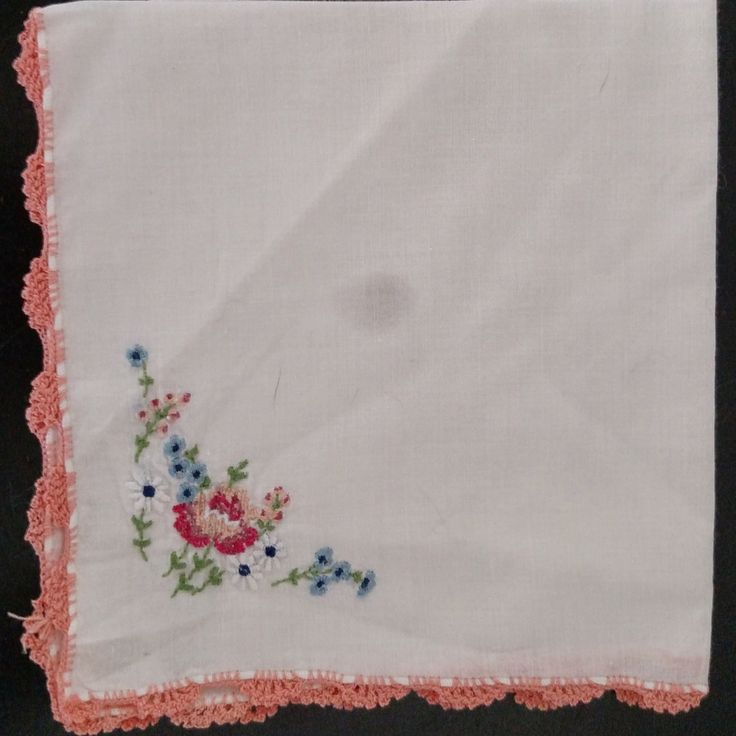 Floral Vintage Hand Embroidered and Crocheted Hanky Handkerchief  Flowers Floral Crochet Cross Stitch by awesome80s on Etsy