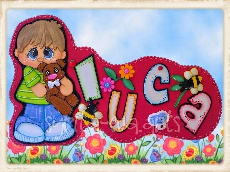 """Cartel puerta niño """"Luca"""""""