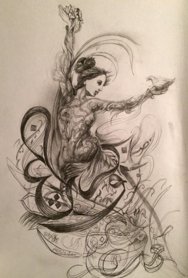 Arabic calligraphy , Dance by Samarqandi