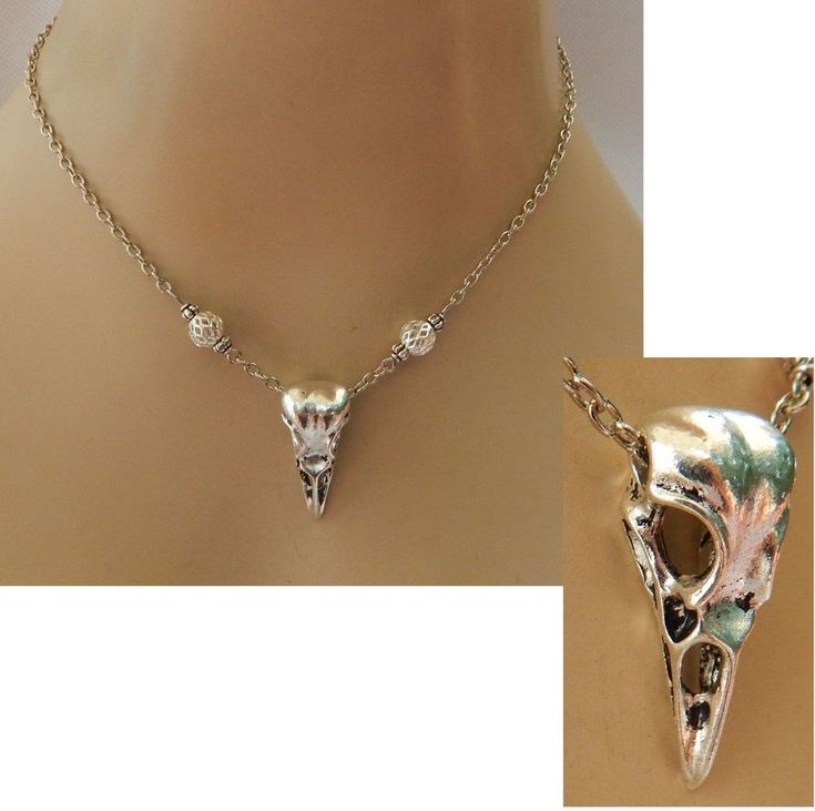 Silver Raven Skull Pendant Necklace Bird Jewelry Handmade NEW Adjustable Fashion #Handmade #Pendant