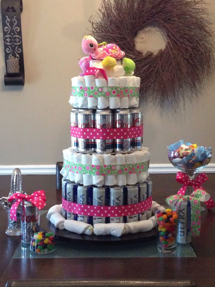 Diapers and Beer Parents To Be Party Cake